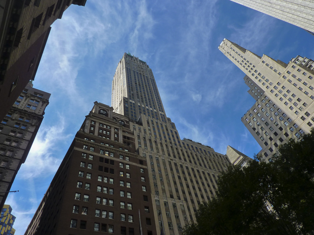 Exterior photo of SkySaver's office location in 40 Wall Street, New York